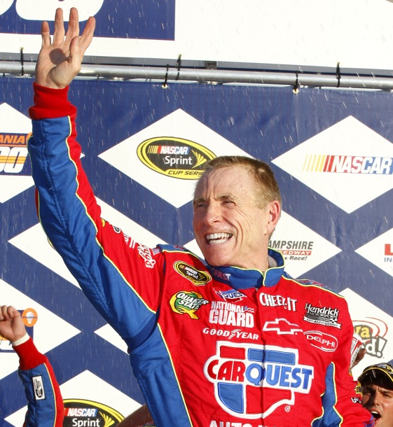 Mark Martin won his seventh pole of the season Friday at Kansas Speedway. (Photo by Geoff Burke/Getty Images for NASCAR)