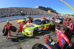 Mark Martin hits the pits en route to winning at New Hampshire on Sunday. (Photo courtesy of NASCAR)