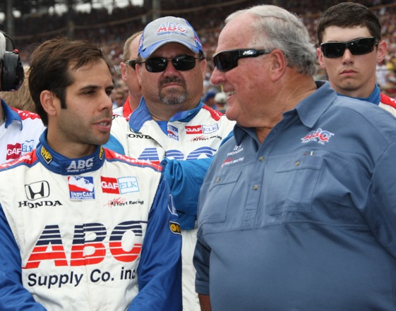 Vitor Meira and A.J. Foyt were back together again at a race track this week. Meira was seriously injured during a wreck earlier this season. (Photo courtesy of the IndyCar Series)