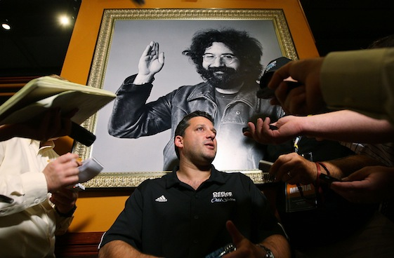Tony Stewart answered questions from reporters under a post of Grateful Dead guitarist Jerry Garcia at the Hard Rock Cafe in New York City on Thursday. (Photo by Mike Stobe/Getty Images for NASCAR)