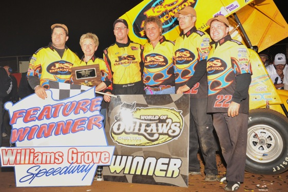 Greg Hodnett celebrates at Williams Grove (World of Outlaws photo by Paul Arch)