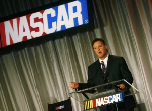 Brian France spoke at a NASCAR press conference in Charlotte on Wednesday. (File photo by Rusty Jarrett/Getty Images for NASCAR)