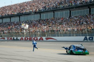 Carl Edwards' run to the finish is part of the lore at Talladega Superspeedway. (Photo by Jerry Markland/Getty Images for NASCAR)