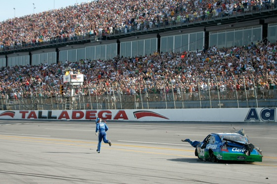 Carl Edwards finished the spring race at Talladega on foot after his car and the catch fence at the track were ripped to pieces in a wreck. (Photo by Jerry Markland/Getty Images for NASCAR)