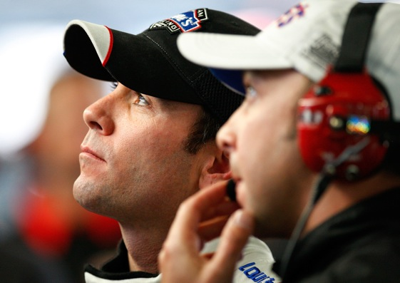 Jimmie Johnson and crew chief Chad Knaus just might be thinking about what to wear to this year's championship banquet.  (Photo by Geoff Burke/Getty Images for NASCAR)