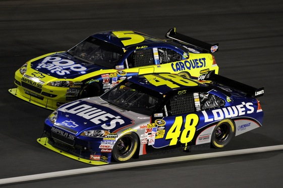 Jimmie Johnson is pulling away from the field. It's now or won't for teams trying to deprive Johnson of a fourth-straight championship.  (Photo by John Harrelson/Getty Images for NASCAR)