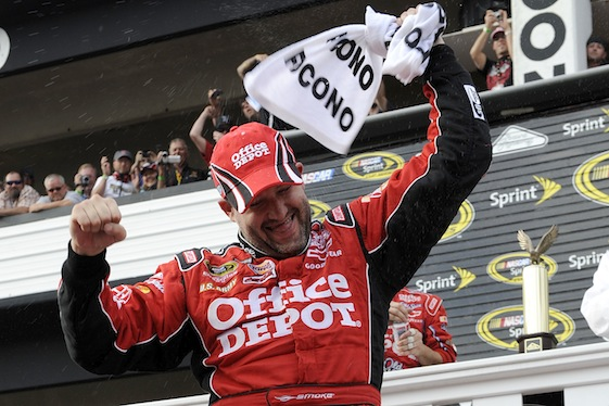 Tony Stewart got his first victory as an owner/driver at Pocono in June. (Photo courtesy of NASCAR)