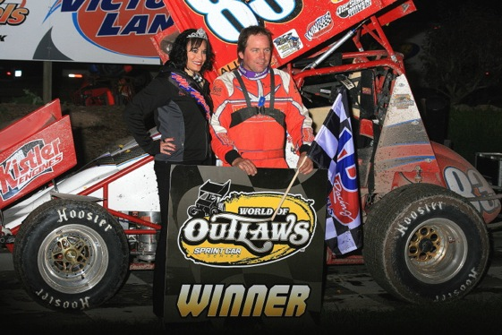 Tim Shaffer celebrates. (World of Outlaws photo by Jay Fish)
