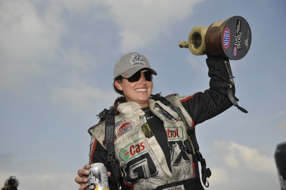 Ashley Force Hood knows a thing or two about being a female race car driver. (Photo courtesy of the NHRA)
