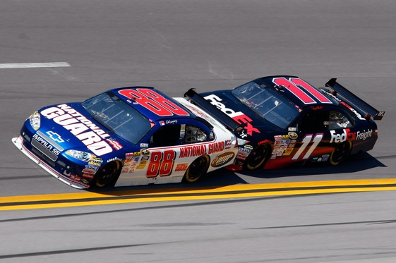 This would be considered a no-no during Sunday's Sprint Cup race at Talladega. (Photo by John Harrelson/Getty Images)