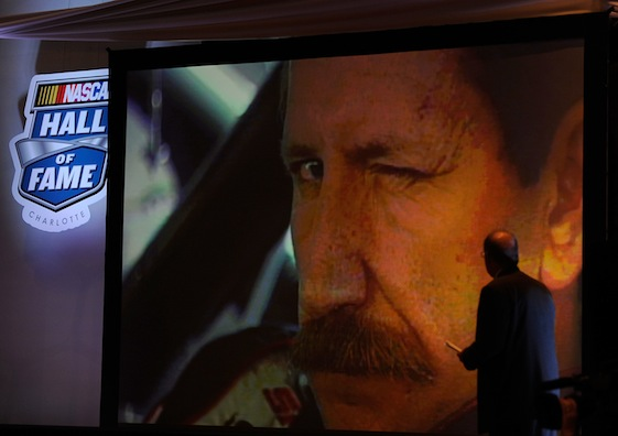 A brief video biography of Dale Earnhardt's career was shown upon his election to the NASCAR Hall of Fame Wednesday.  (Photo by Rusty Jarrett/Getty Images for NASCAR)