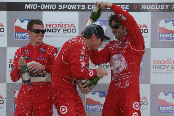 One of these three guys – Ryan Briscoe, Scott Dixon, Dario Franchitti – will be spraying the big bottle of champagne after Homestead. (Photo courtesy of the IndyCar Series)