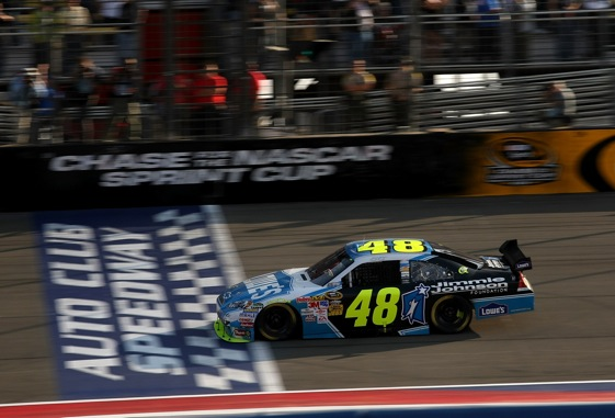 Jimmie Johnson heads to the top of the Chase for the Sprint Cup Championship. (Photo by Stephen Dunn/Getty Images for NASCAR)