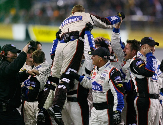 Members of Jimmie Johnson's pit crew celebrate win at Lowe's Motor Speedway. Celebrations for other teams are on the wane.  (Photo by Geoff Burke/Getty Images for NASCAR)