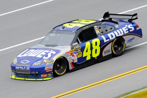 Rain has put Jimmie Johnson on the pole at Talladega. (Photo by John Harrelson/Getty Images for NASCAR)