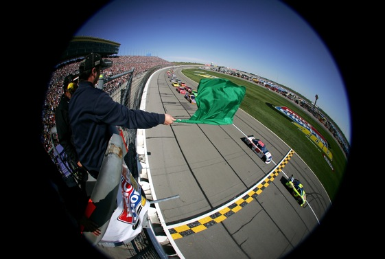 The green flag at Kansas, and at other Sunday races next year, will fall at 1 p.m. Or so. (Photo by Todd Warshaw/Getty Images)