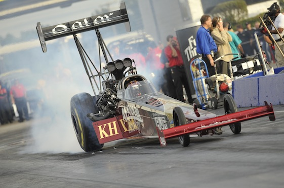 Larry Dixon is closing in on Top Fuel points leader Tony Schumacher at Richmond. (Photo courtesy of the NHRA)