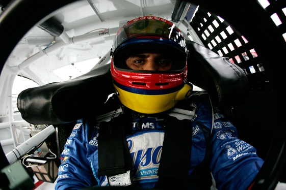 Juan Pablo Montoya will take to the track at Lowe's Motor Speedway tonight with a very clean 2009 Chase resume.  (Photo by Jason Smith/Getty Images for NASCAR)