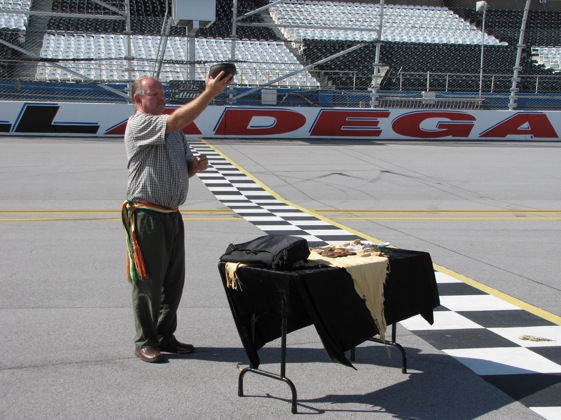 Creek Medicine Man Robert Thrower performed a traditional Native American blessing ceremony this week on the start-finish line and asked for balance to be restored to the land. (Photo courtesy of Talladega Superspeedway)