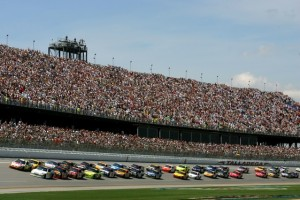 The start of the spring race at Talladega. Monaco, it is not. (Photo by Todd Warshaw/Getty Images)