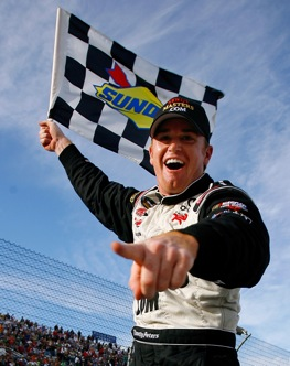 Timothy Peters celebrated in victory lane at Martinsville last Saturday. (Photo by Jason Smith/Getty Images for NASCAR)