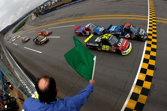 Colin Braun took the green flag for the Camping World Truck Series race at Talladega Saturday, but Kyle Busch took the checkered. (Photo by Chris Graythen/Getty Images)