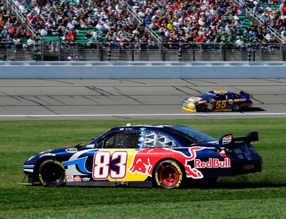 Brian Vickers slid into the grass and probably out of contention at Kansas. (Photo by Rusty Jarrett/Getty Images for NASCAR)