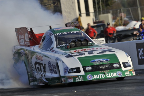 Ashley Force Hood has a toughie in her first-round matchup on Sunday in Las Vegas. (File photo courtesy of the NHRA)