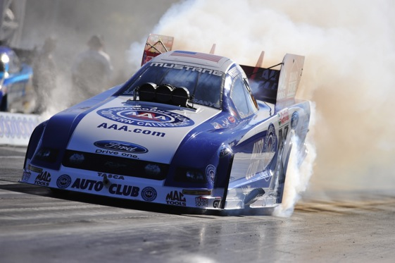 Robert Hight heats up the tires during Sunday's Countdown to 1 event at The Strip in Las Vegas. (Photo courtesy of the NHRA)