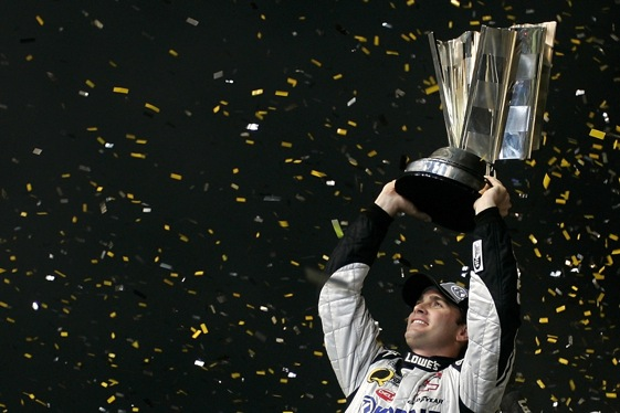 Spint Cup champion Jimmie Johnson has been named winner of the Driver of the Year award for the fourth quarter of the 2009 season. (File photo by Jason Smith/Getty Images for NASCAR)