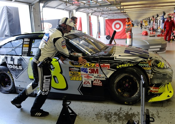 Chad Knaus goes to work in the garages at Texas Motor Speedway. (Photo by Rusty Jarrett/Getty Images for NASCAR)