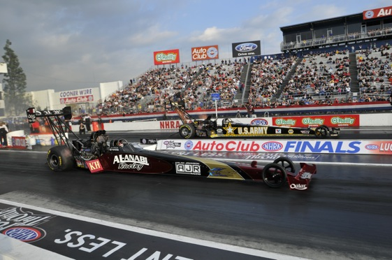 Larry Dixon and Tony Schumacher lined up against each other in Top Fuel on Friday. On Sunday they will fight it out for the championship. (Photo courtesy of the NHRA)