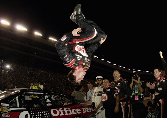 Carl Edwards celebrated the first victory at a Texas Motor Speedway autumn ace in the usual way back in 2005. Call it the Ferko Flip. (Photo by Rusty Jarrett/Getty Images)