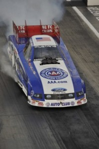Robert Hight roared to the provisional pole at Pomona on Thursday. (Photo courtesy of the NHRA)