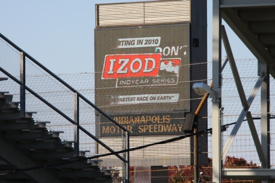 News that the IndyCar Series has a title sponsor went up on the big screens at Indianapolis Motor Speedway Thursday afternoon. (Photo courtesy of the Indy Racing League)