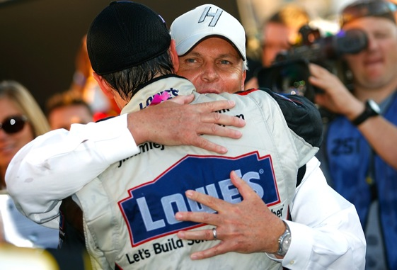 Jimmie Johnson and Rick Hendrick will be together for a long time. (Photo by Jason Smith/Getty Images for NASCAR)