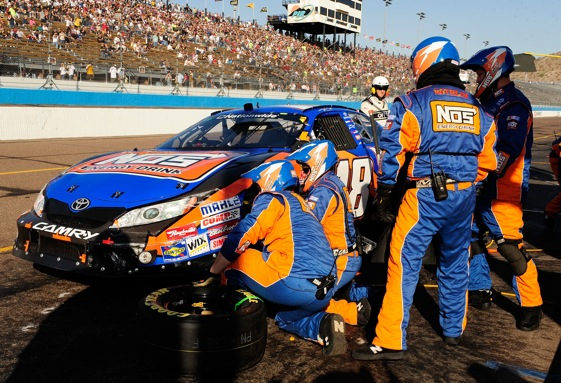 Kyle Busch's hopes to clinch the Nationwide Series championship took an early hit in Phoenix on Saturday. (Photo by Rusty Jarrett/Getty Images for NASCAR)