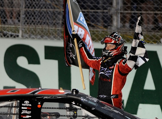 Kyle Busch did a lot of flag waving in the Nationwide Series Series this season. (File photo by John Harrelson/Getty Images for NASCAR)
