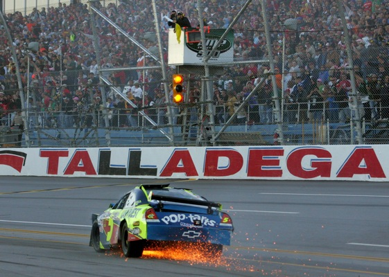 Mark Martin's car limps to the finish line after being involved in a late-race wreck at Talladega Sunday afternoon. (Photo by Jerry Markland/Getty Images for NASCAR)