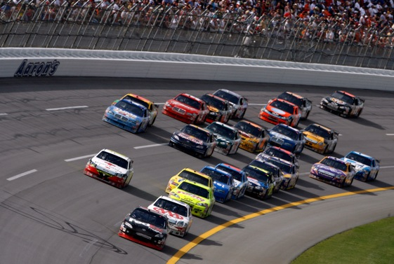 This will be a familiar site at Talladega Superspeedway this afternoon. (Photo by Jeff Gross/Getty Images)