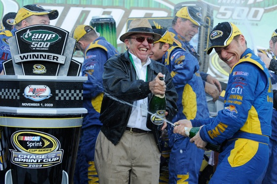 Jack Roush and Jamie McMurray partied like it was for the last time at Talladega. (Photo by John Harrelson/Getty Images for NASCAR)
