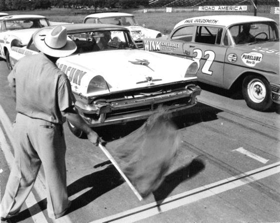 Tim Flock led the NASCAR field to the green flag at Road American in 1956. (Photo courtesy of NASCAR)