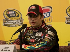 Friday press conferences at track media centers can be informative and entertaining. This one at Kansas Speedway with Jeff Gordon comes to mind. (RacinToday file photo by Tony Bush)