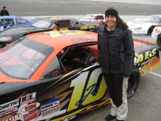 Johanna Long will start the Snowball Derby from the pole on Sunday. (RacinToday photo by Jeff Hood)