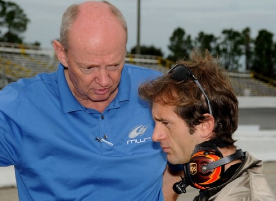 Steve Hallam talks with Jarno Trulli – about stock-car racing. How would have thought? (Photo courtesy of Michael Waltrip Racing)