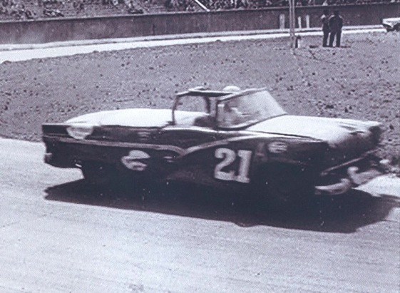 Glen Wood circles the track in his 1956 convertable. (File photo courtesy of Wood Brothers Racing)