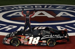 Kyle Busch won is second straight February Nationwide race at Auto Club Speedway Saturday. This photo is from a year ago. (File photo by Jason Smith/Getty Images for NASCAR)