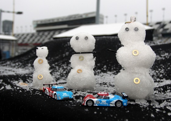 Snow slowed down Saturday's portion of the Grand-Am test at Daytona International Speedway (Photo courtesy of the Grand-Am Rolex Sports Car Series)