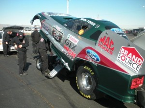 John Force&#039;s crew works on his new Mustang during this weekend&#039;s NHRA test at Firebird International Raceway in Arizona. (Photo courtesy of John Force Racing)