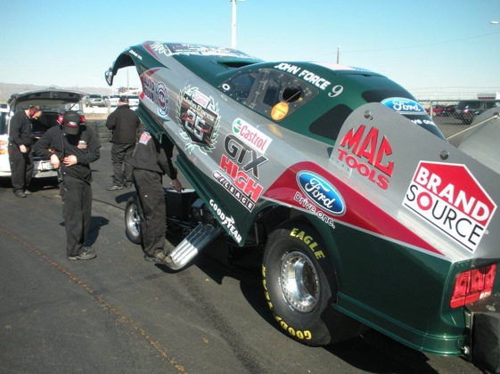 John Force's crew works on his new Mustang during this weekend's NHRA test at Firebird International Raceway in Arizona. (Photo courtesy of John Force Racing)